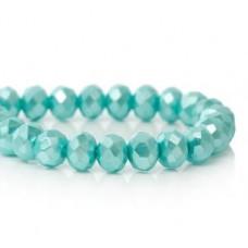 Бусины стеклянные граненые голубые с блестящим напылением 8*8 мм