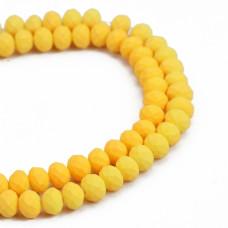 Бусины стеклянные граненые желтые матовые 8 мм