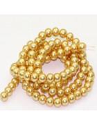 Бусины стеклянные под жемчуг золотистые 8 мм