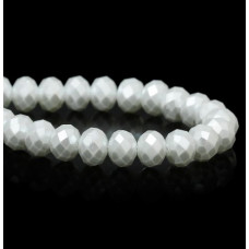 Бусины стеклянные граненые белые с блестящим напылением 8*8 мм