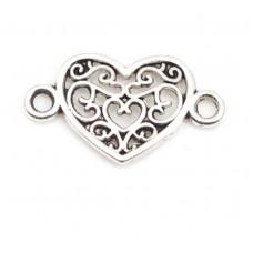 Коннектор Сердце. Цвет черненое серебро. 21*12 мм