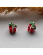 Подвеска с эмалью Подарок красная 13*7 мм