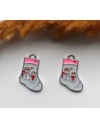 Подвеска с эмалью Рождественский носок 25*16 мм