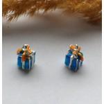 Подвеска с эмалью Подарок синяя 13*7 мм