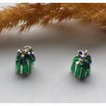 Подвеска с эмалью Подарок зеленая 13*7 мм
