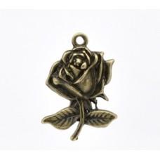 Подвеска металлическая Роза 25*17 мм. Цвет бронза