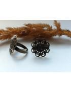Основа для кольца с площадкой Цветок 17 мм. Цвет бронза