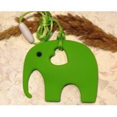 Грызунок прорезыватель силиконовый Слоник светло-зеленый