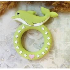 Грызунок прорезыватель Дельфин светло-зеленый 70*60 мм