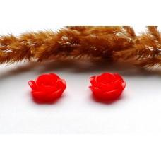 Кабошон Роза красная 18 мм