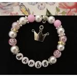 Набор для именного розового браслета с короной