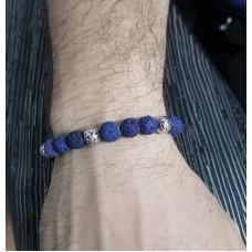 Набор для мужского темно-синего браслета из бусин лавы