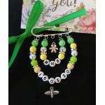 Набор для создания желто-зеленой именной булавки с датой рождения