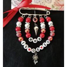 Набор для создания бело-красной именной булавки с датой рождения
