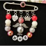 Набор для создания серебристо-красной именной булавки с ангелочком