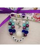 Набор для создания именной фиолетово-голубой булавки с бусиной Ягодка
