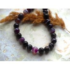 Бусины каменные агат фиолетовые с белыми вставками 10 мм