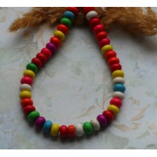 Бусины каменные бирюза разноцветные микс 8*5 мм. 5 шт