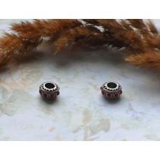 Бусины Pandora Style металлические с красными стразами