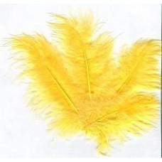 Перья декоративные желтые 8 см 10 шт