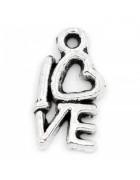 Подвеска  металлическая Love 14*8 мм. Цвет черненое серебро