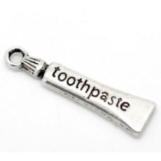 Подвеска металлическая Зубная паста 28*7 мм. Цвет черненое серебро