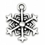Подвеска металлическая Снежинка 19*15 мм. Цвет никель