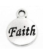 Подвеска металлическая Faith Вера 15 мм. Цвет черненое серебро