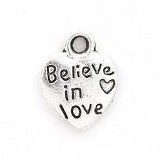 Подвеска металлическая Believe in love. Цвет черненое серебро