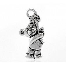 Подвеска металлическая Мишка с цветком 19*9 мм. Цвет черненое серебро