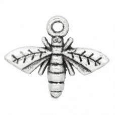 Подвеска металлическая Пчела 14*17 мм. Цвет черненое серебро
