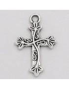 Подвеска металлическая Крест 25*16 мм. Цвет черненое серебро
