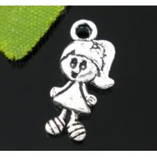 Подвеска металлическая Девочка 15*7 мм. Цвет черненое серебро