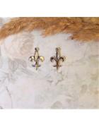 Подвеска металлическая Знак лилии 18*12 мм. Цвет черненое серебро