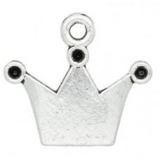 Подвеска металлическая Корона 19*17 мм. Цвет черненое серебро