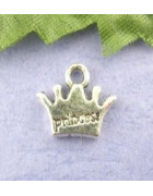 Подвеска металлическая Корона маленькая. Цвет черненое серебро. 10*13 мм
