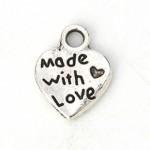 Подвеска металлическая Made with love 10 мм. Цвет черненое серебро