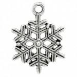 Подвеска металлическая Снежинка 22*19 мм. Цвет черненое серебро