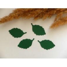 Листья из плотной бумаги тисненые зеленые. 30*18 мм. 4 шт