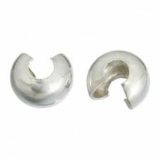 Зажимные бусины (кримпы) 5 мм. Цвет серебро. 10 шт.